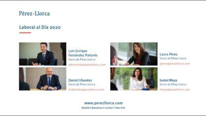"""Webinar: """"Pérez-Llorca Laboral al Día 2020"""""""